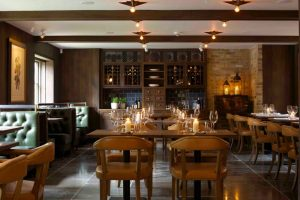 hurley house hotel green leather maquette oak tables beams