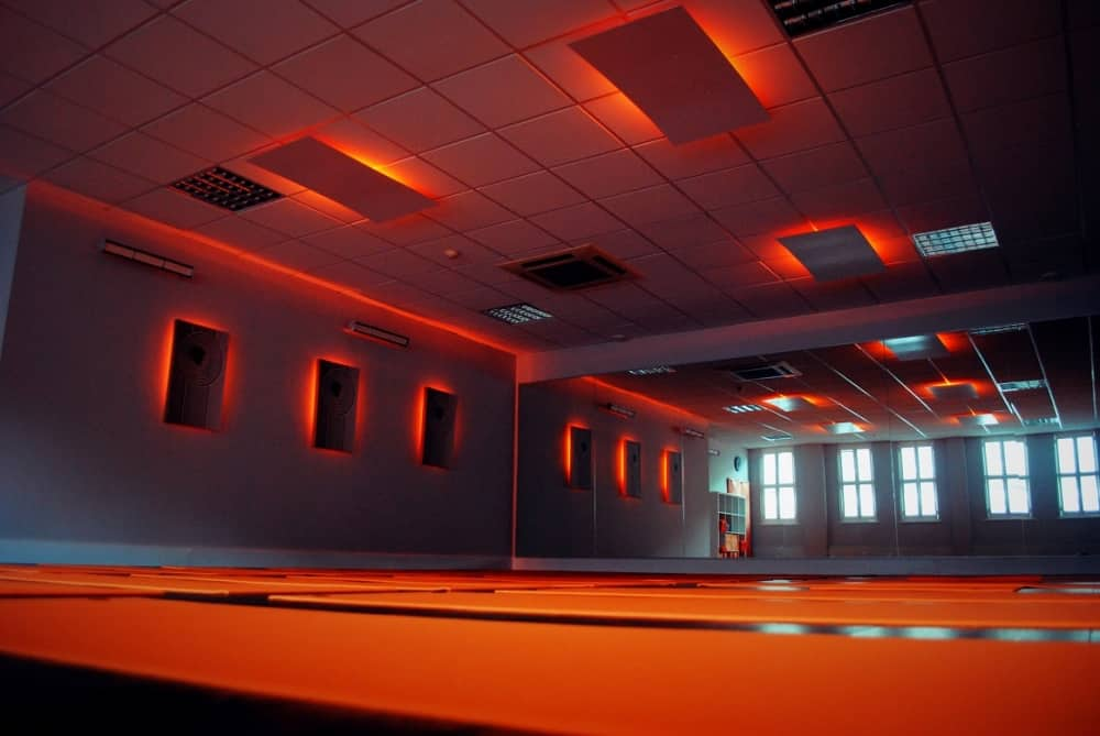 Inspire hot yoga studio – ornagematsinfrared heaters on walls and ceiling