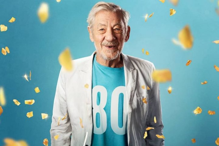 Sir Ian McKellan 80 t shirt and gold confetti