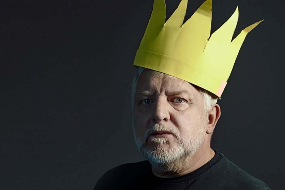 BT Live The Tragedy of Richard II beard man in yellow paper crown