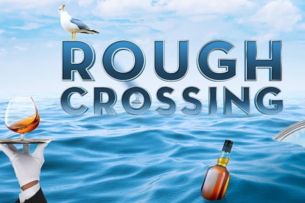 Rough Crossing theatre waiter brand on tray bottle and seagull at seas