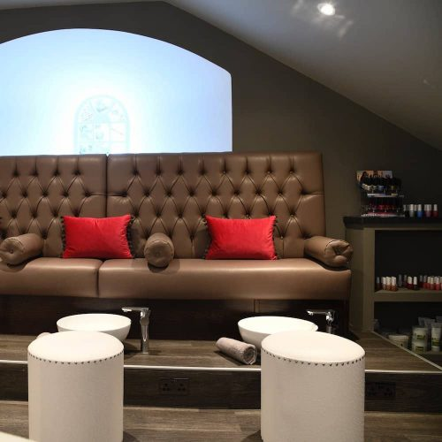 Warbrook House Hotel Park Spa Mani and Pedi studio button backed seating and white stool