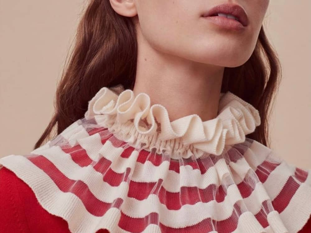 Alex Gore Browne cashmere ruffle collar and red knitted sweater