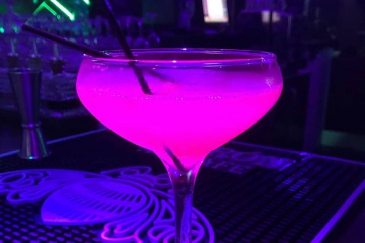 Ascot Fifty5 cocktails illuminated pink by lighting