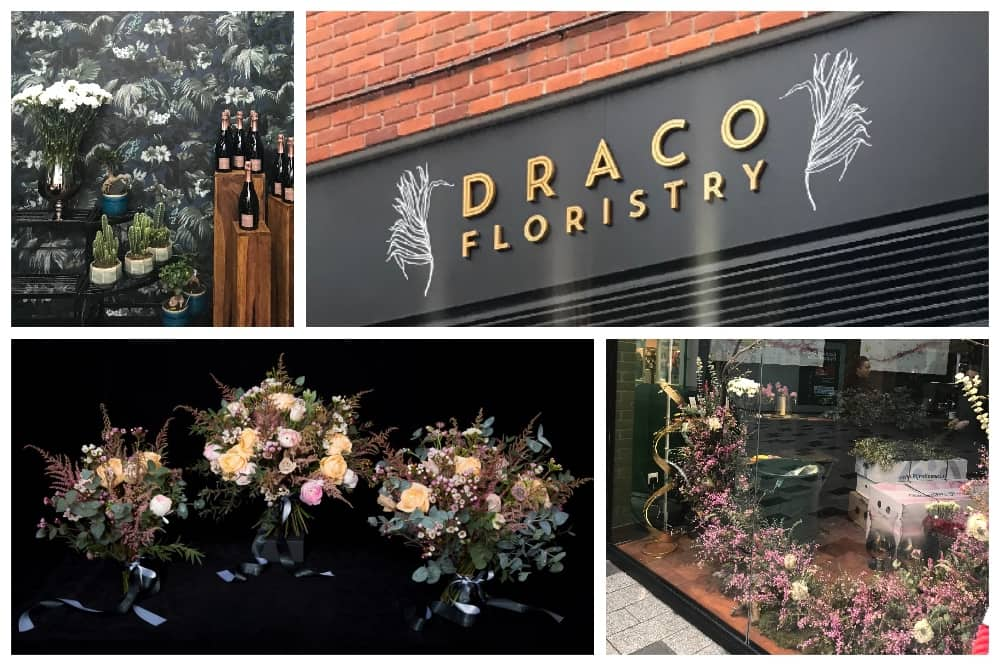 Draco Florist Newbury collage of sign floral hoop display house of hackney wallpaper and bouquets