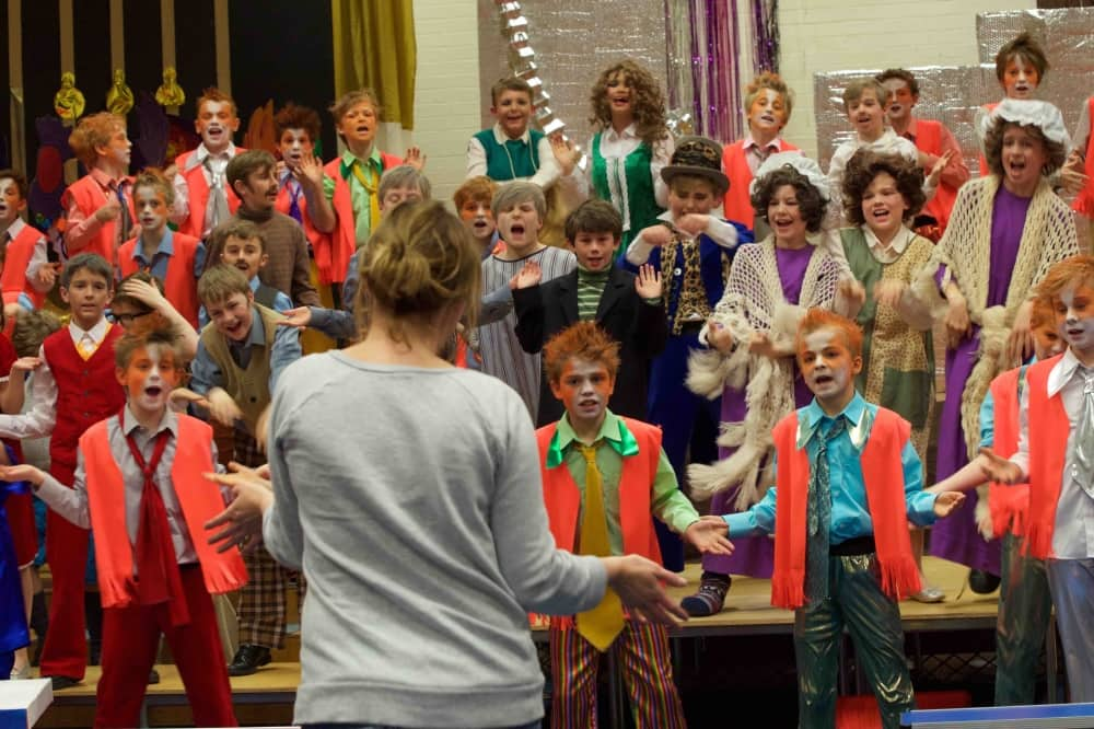 Elstree School Woolhampton Berkshire boys theatre flora vests and face painted cats