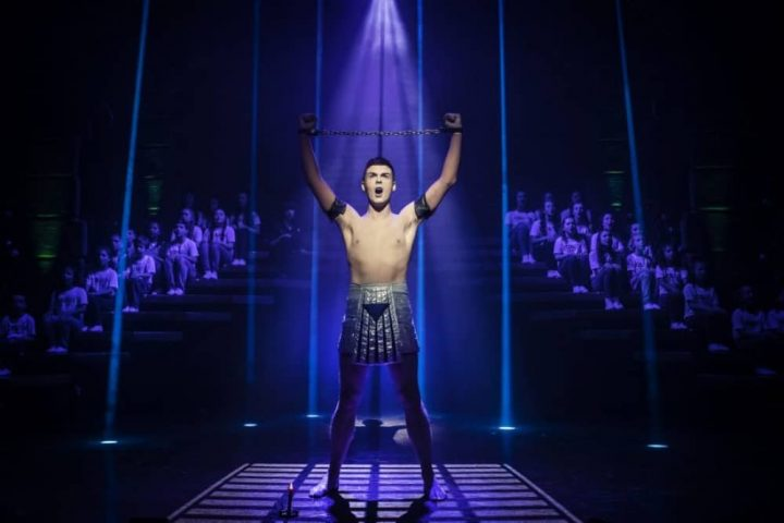 Union J star Jaymi Hensley in silver loin cloth in chain Jospeph and his mazing technicolor dreamcoat