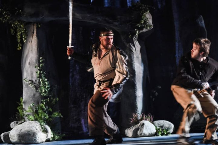 Macbeth South Hill Park Bracknell man wielding sword in battle