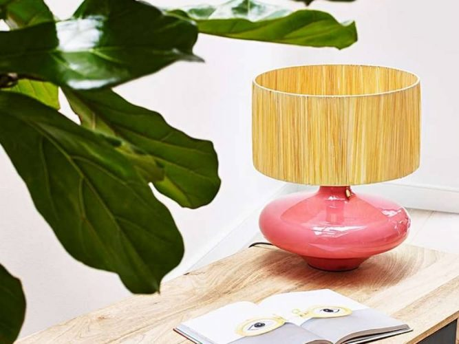 Oliver bonas coral peach lamp bamboo shade and fig plant