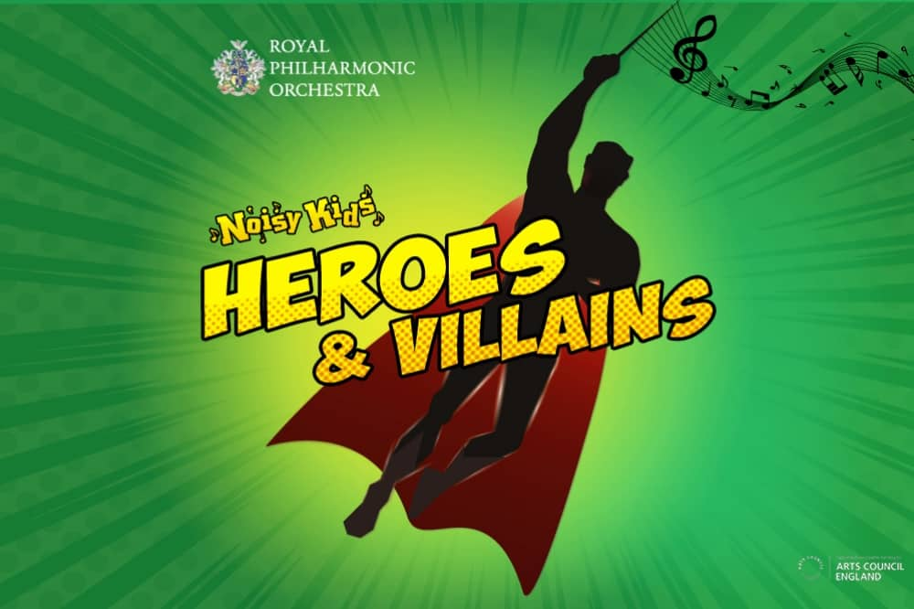 flying superman on green background musical notes Heroes and Villains