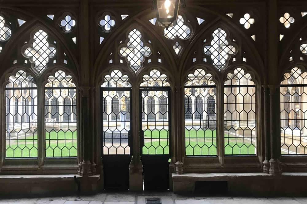 Inside Windsor Castle ornate windows and lawn