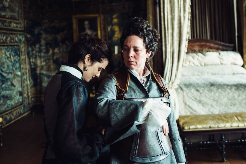 Oscar winning actress Olivia Coleman and Rachel Weisz in The Favourite