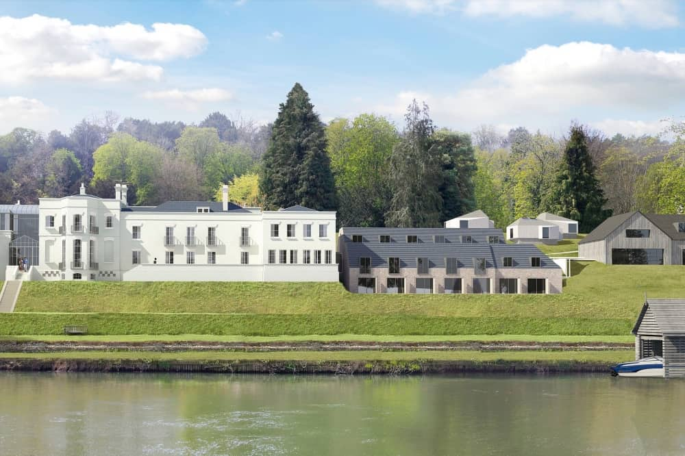 The Grotto Berkshire plans for hotel and members' club what building wooden outbuildings river