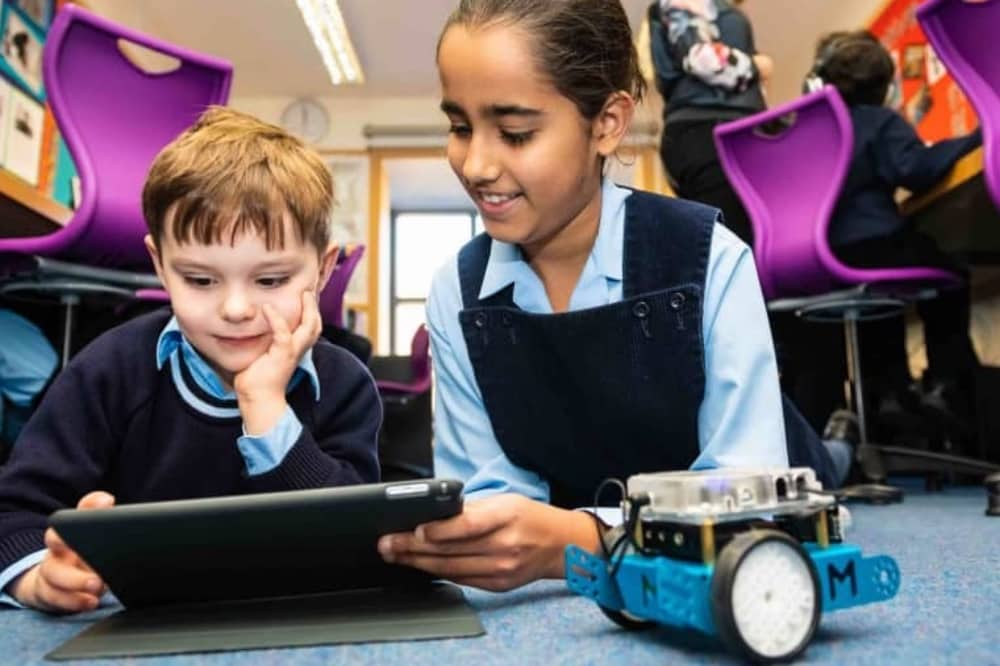 Upton House School coding and robotics club girls and boy
