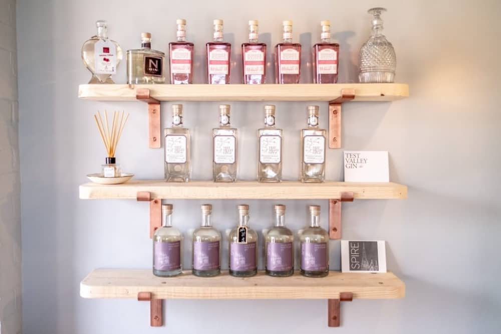 WESSEX SPIRITS shelves with different types of small batch gins