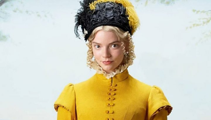Emma Film 2020 Jane Austen – boonde woman in yellow dress and black and yellow hat