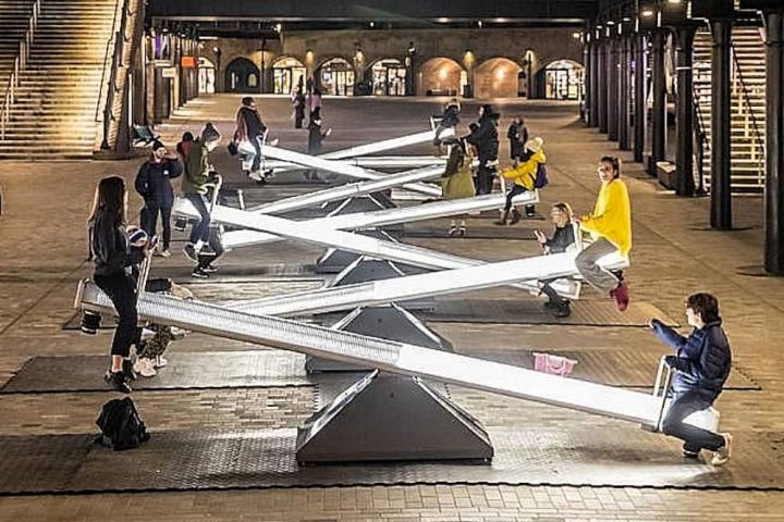 illuminated see saws Kings Cross London