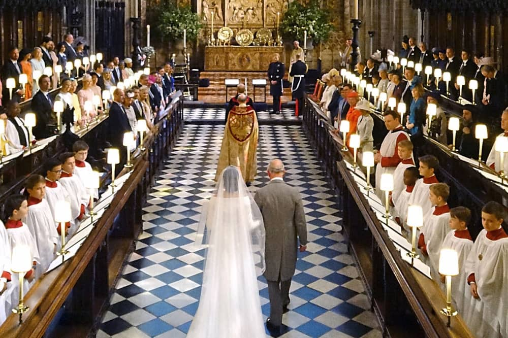 RoyalWedding St George's Chapel choir Meghan Markle walks aisle with Prince Charles Windsor Castle