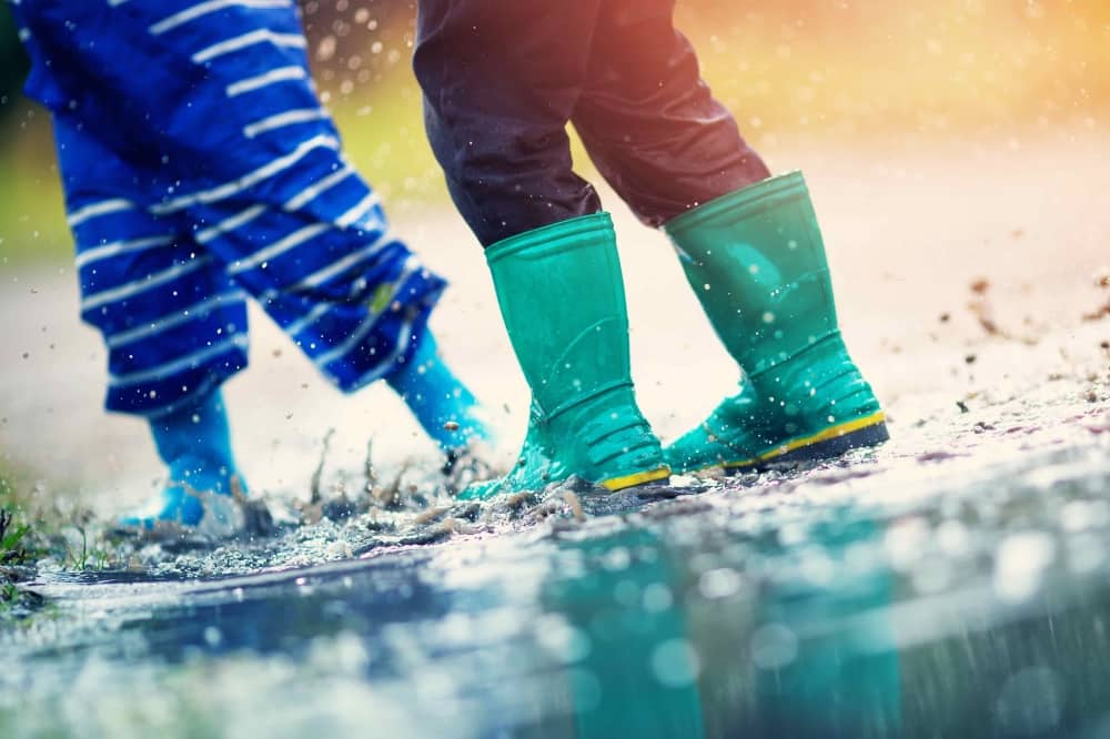 children welly boots jumping in puddles