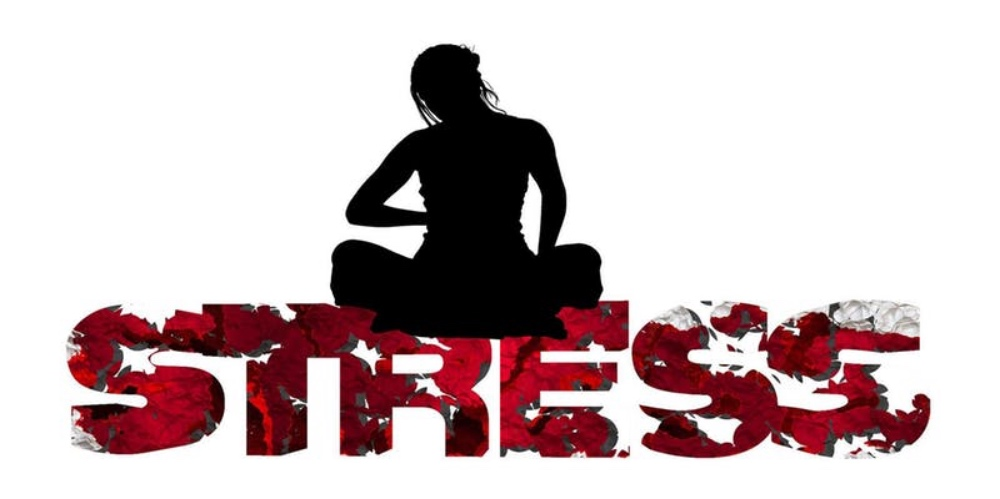 word stress with silhouette of a woman in the yoga lotus position