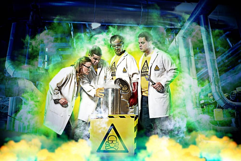 Brainiac Live Theatre Royal Windsor green and yellow smoke scientists in whote coats and goggles