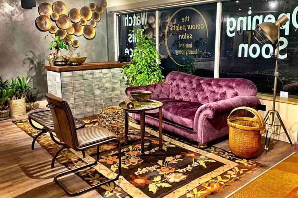Colour Palette Salon Crowthorne Berkshire purple velvet sofa print rug retro chairs whicker baskets hair salon