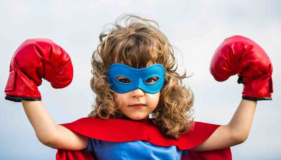 Girl superhero cape mask and boxing gloves
