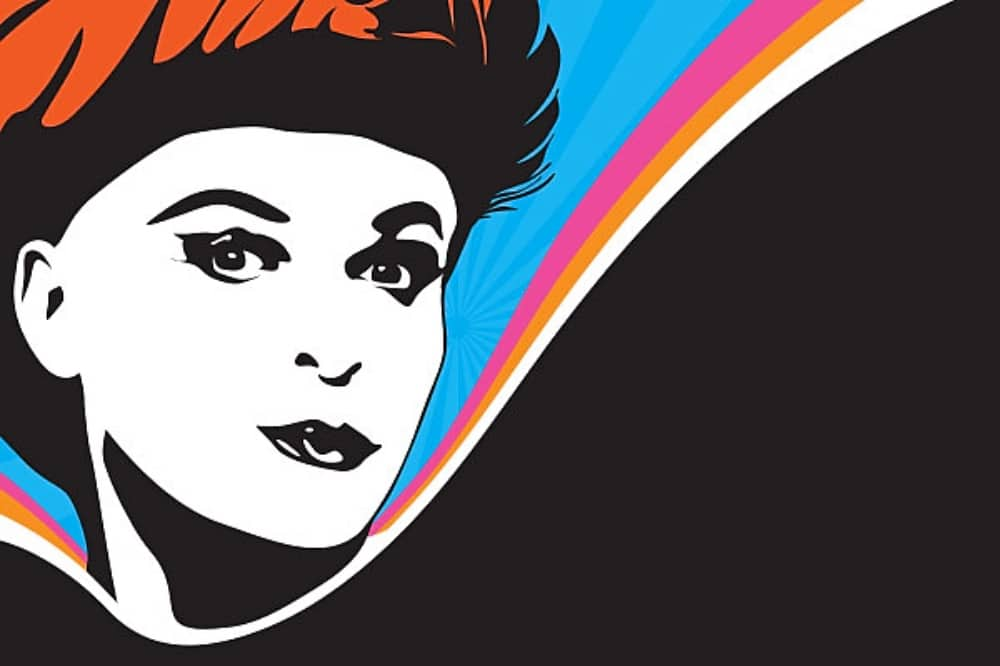 Julian clary born to mince comedy show illustration of face rainbow curve and black background