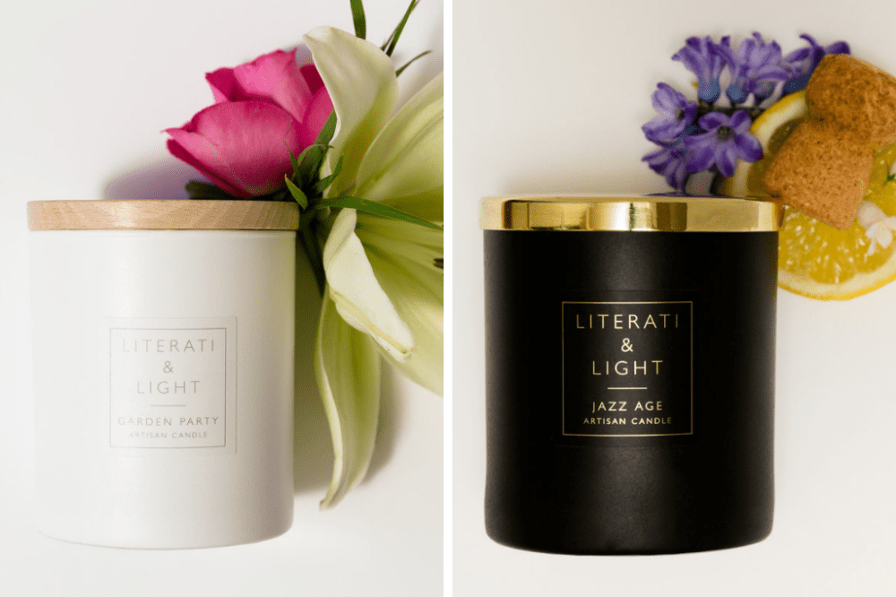 Literati and Light luxury scented candles Berkshire black or white glass with wood or silver top fragrance based on books