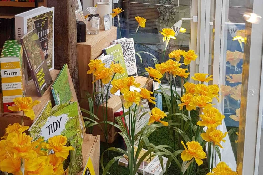 Daffodils and book window display The Little Bookshop Cookham