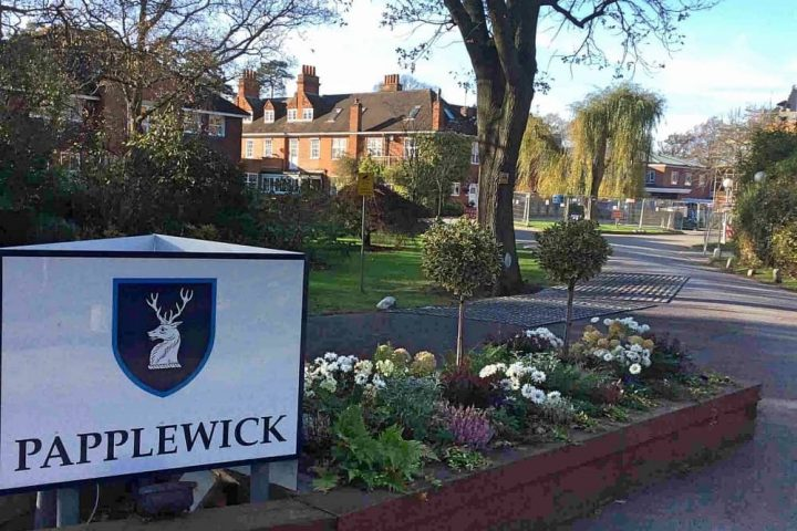Papplewick School sign spring flowers at entrance and collection of old and new buildings Ascot Berkshire