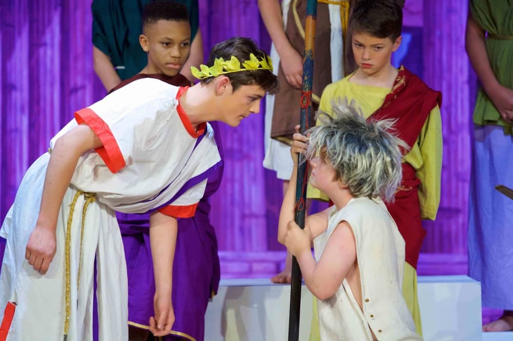 Papplewick Ascot Berkshire school production Julius Caesar white robes and laurel crownS