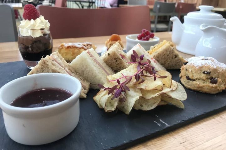 Rosebourne Aldermaston afternoon tea jam crisps sandwich triangles clotted cream cake and chocolate mousse served on slate