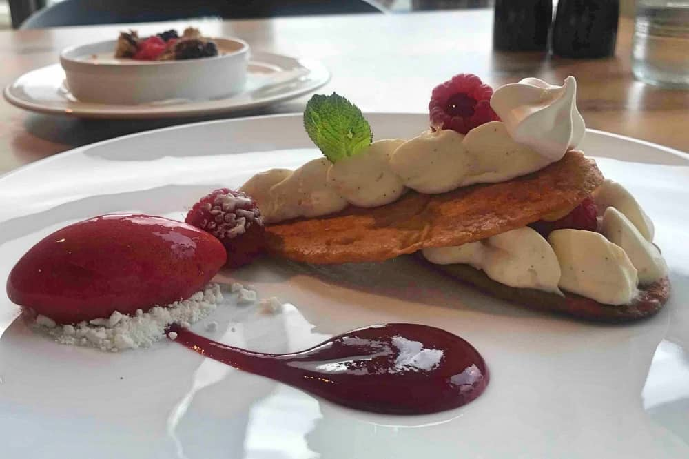 Roux at Skindles Maidenhead Berkshire Mille Feuille raspeberry and sorbet white plate