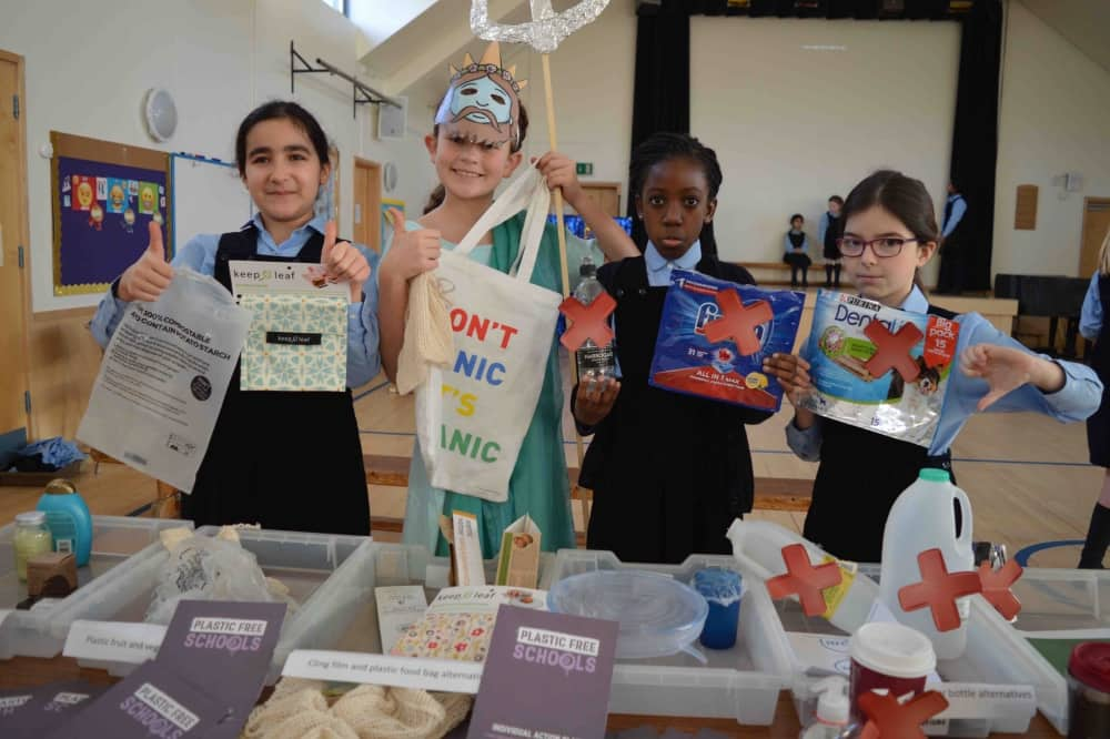 Upton House School Girls plastic Free School status for reducing single use plastic in their school