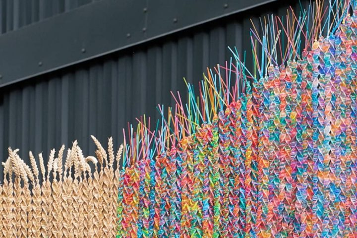 Merl Lates reading More than Human: A MERL Late Close up of a Maria McKinney sculpture made from colourful semen straws and straw