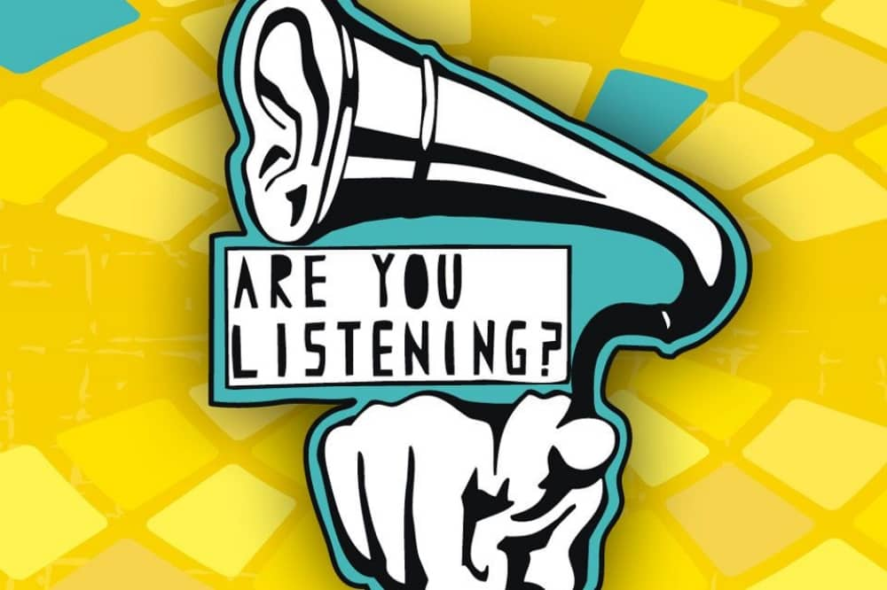 Are you listening festival 2019 Reading South Street arts illustration of a finger pointing from a gramaphone horn with the message are you listening?