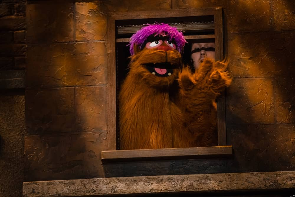 Avenue Q Trekkie Monster brown hairy puppet with pink hair