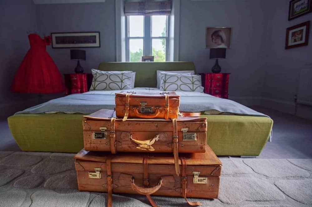 braywood House Estate Windsor Berkshire lime king size bed vintage luggage wooden floorboards