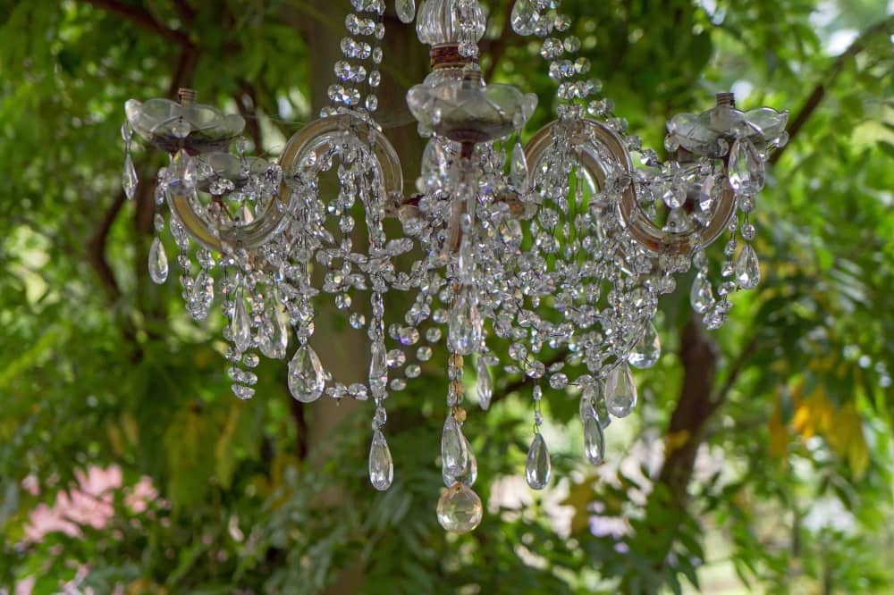 BRAYWOOD House Estate Windsor berkshire crystal chandelier over outdoor dining area