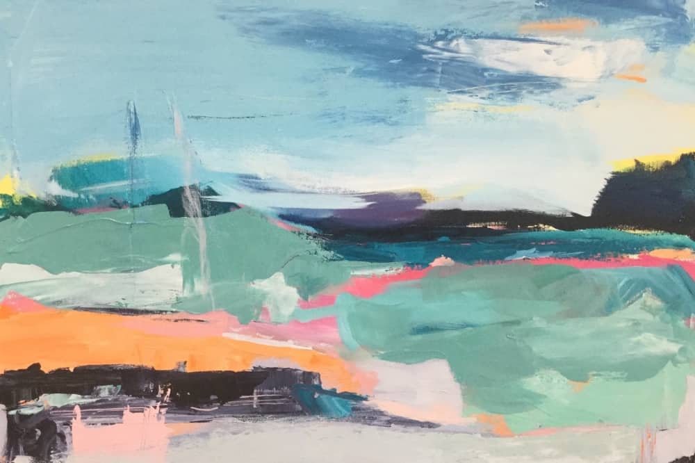 Oil and multi media painter Catherine Warren abstract image of Studland in Dorset