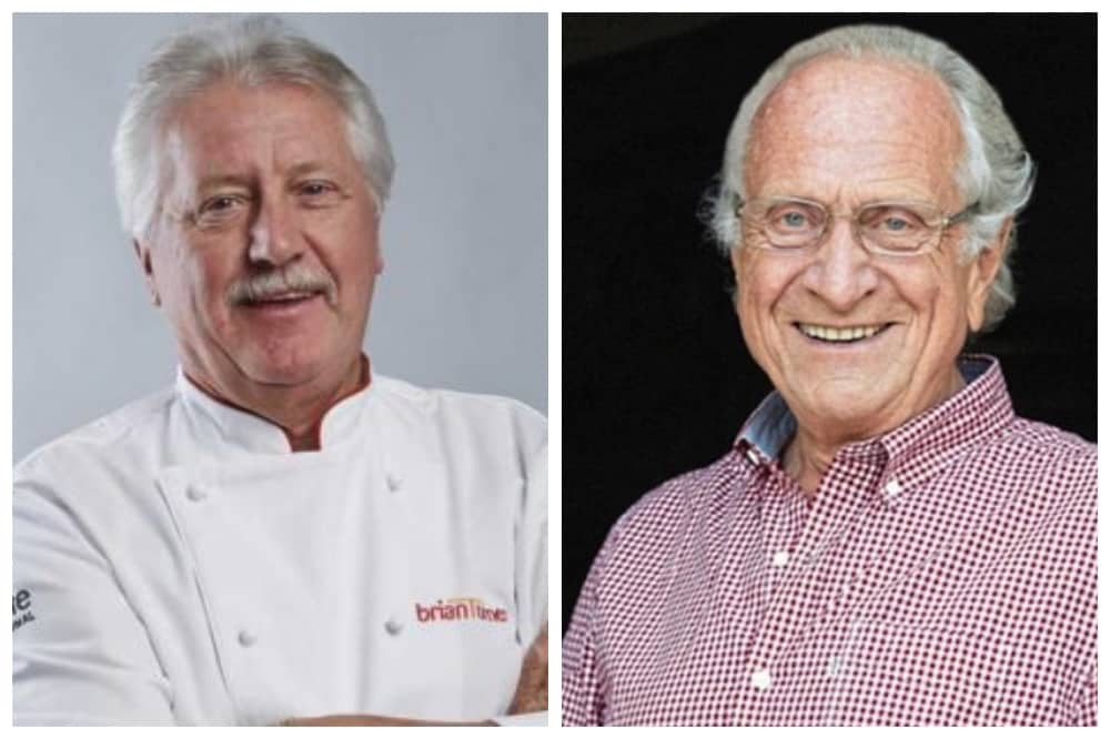 Chef Michel Roux senior with Brian Turner special evening in conversation in aid of Hospitality in Action