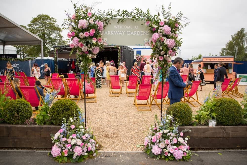 Ladies Day flooral arch and parkway garden deckchairs Newbury racecourse 2018