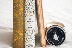 vintage classic book and penguin classi c inspired scented candle Literati and Light