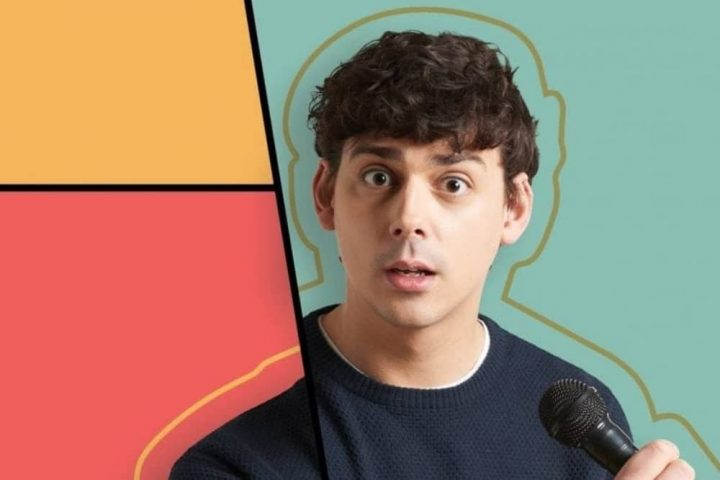 Comedian Matt Richardson geometric background gold outline of his head and shoulders