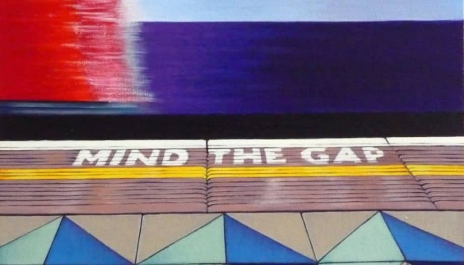 London underground geometric tile iconic Mind The Gap words on floor Rebecca Coleman artist