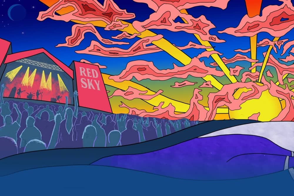 Red Sky Festival psychedelic illustration of stage and crowds