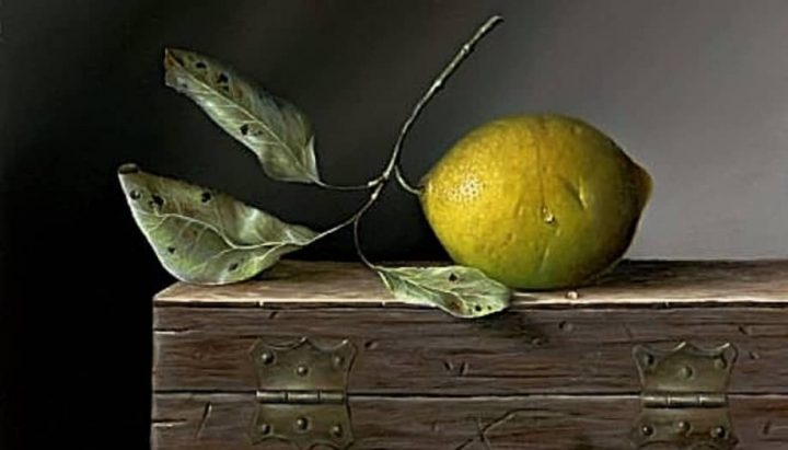 Artist Rob Ritchie oil painting of lemon on a wooden box