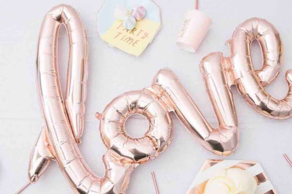rose gold love balloons and gold partywear sweet maries cookham berkshire