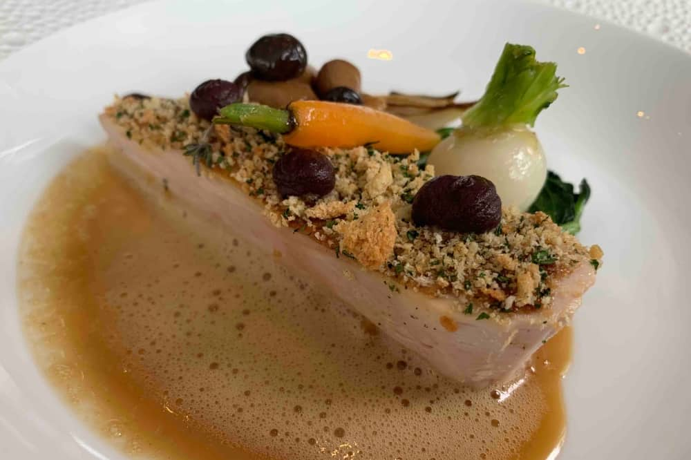 Waterside Inn Bray Berkshire Chicken with balsamic el carrot turnip crumb and sauce